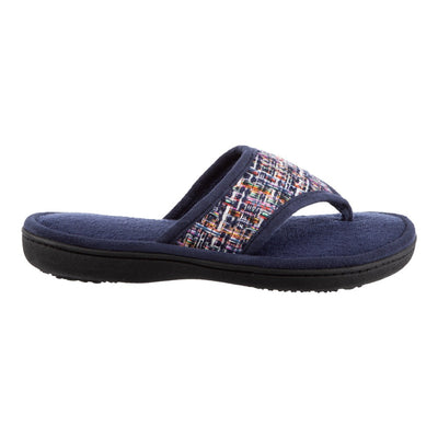 Women's Nikki Tweed Thong Slippers in Navy Blue Profile View