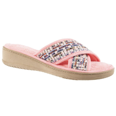Women's Nikki Tweed X-Slide Slippers Iced Strawberry (Pink) Right Angled View