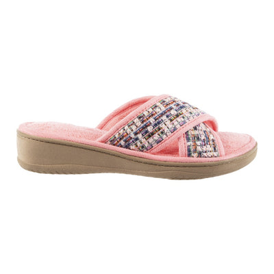 Women's Nikki Tweed X-Slide Slippers Iced Strawberry (Pink) Profile View