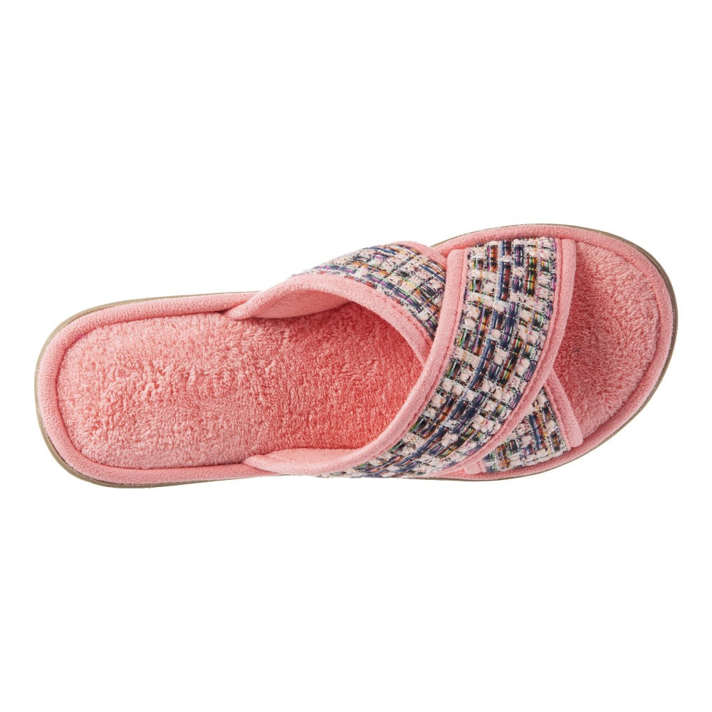 Women's Nikki Tweed X-Slide Slippers Iced Strawberry (Pink) Top View