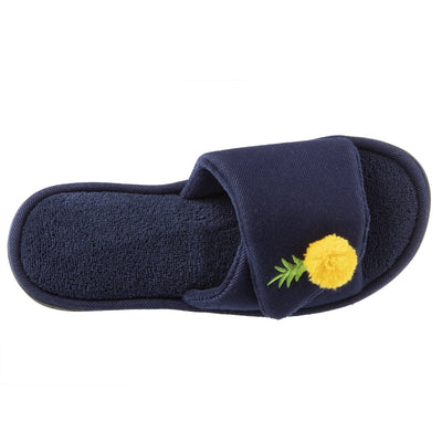 Women's Isabella Adjustable Slide Slippers in Navy Blue Top View