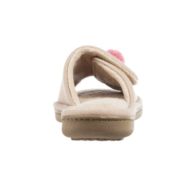 Women's Isabella Adjustable Slide Slippers in Sand Trap Pink Heel View