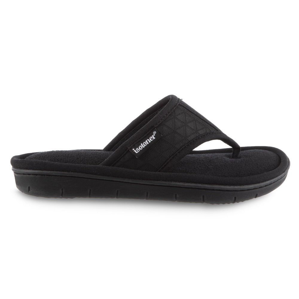 Women's Mesh Mia Thong Slippers in Black Profile View