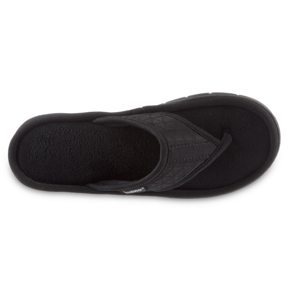 Women's Mesh Mia Thong Slippers in Black Top View