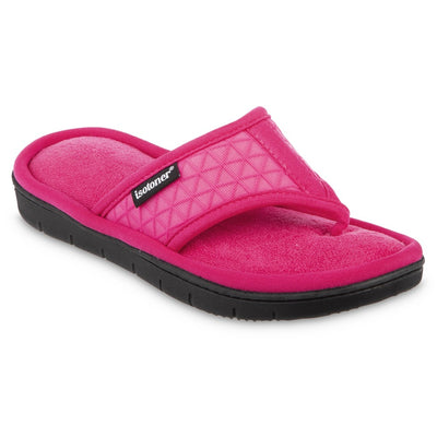 Women's Mesh Mia Thong Slippers in Fiesta Pink Quarter View