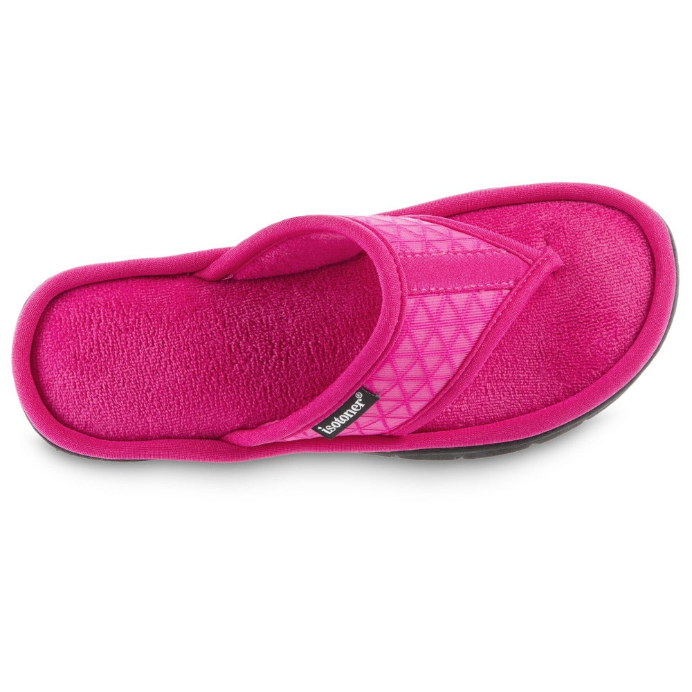 Women's Mesh Mia Thong Slippers in Fiesta Pink Top View