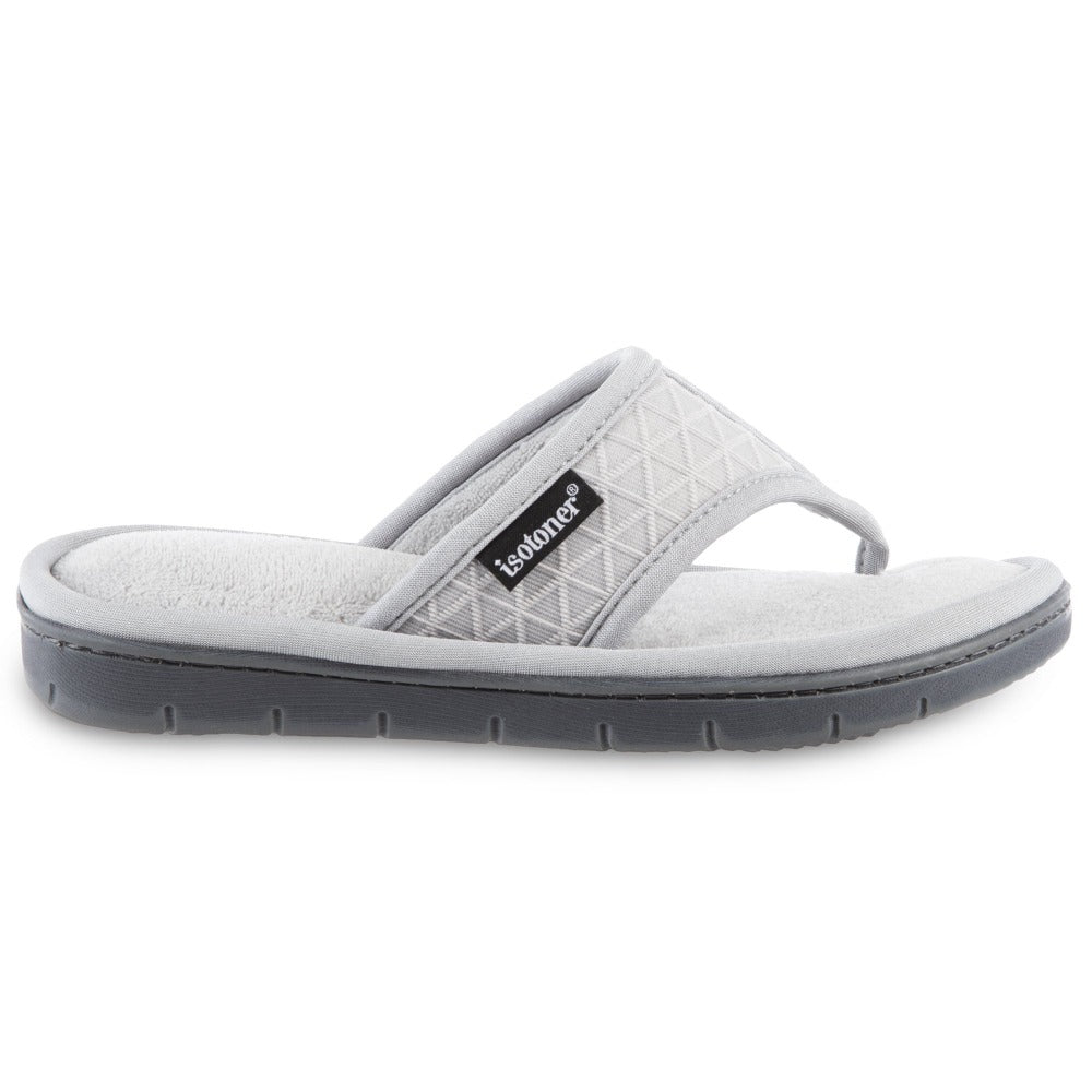Women's Mesh Mia Thong Slippers in Light Grey Profile View
