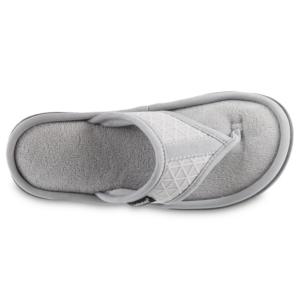 Women's Mesh Mia Thong Slippers in Light Grey Top View