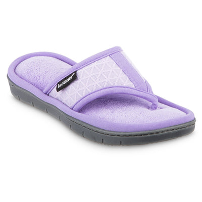 Women's Mesh Mia Thong Slippers in Paisley Purple Quarter View