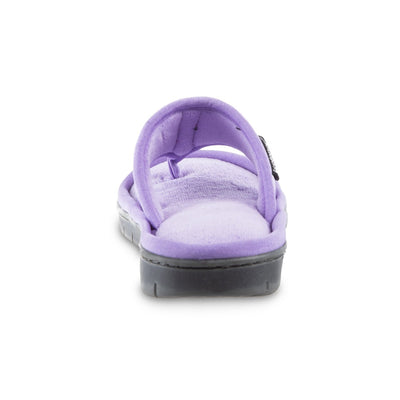 Women's Mesh Mia Thong Slippers in Paisley Purple Heel View