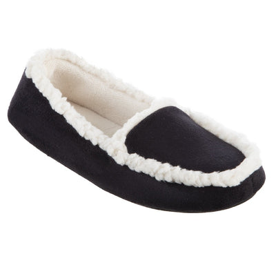 Women's Microsuede Alex Moccasin Slippers in Black Right Angled View