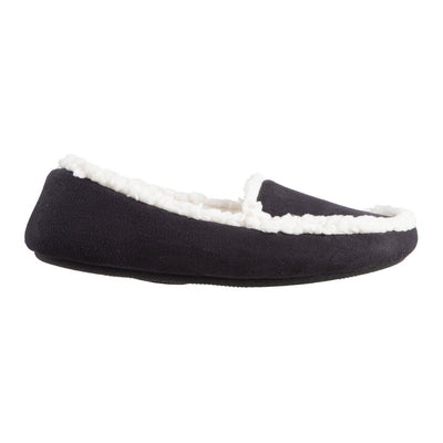 Women's Microsuede Alex Moccasin Slippers in Black Profile