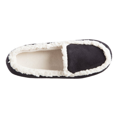 Women's Microsuede Alex Moccasin Slippers in Black Inside Top View