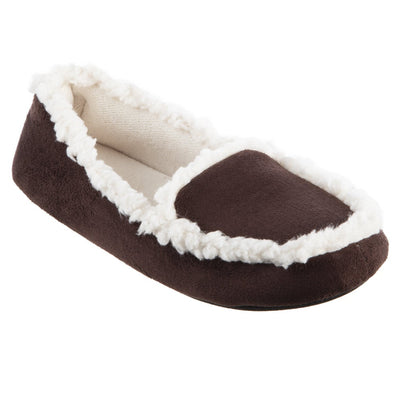 Women's Microsuede Alex Moccasin Slippers in Dark Chocolate Right Angled View