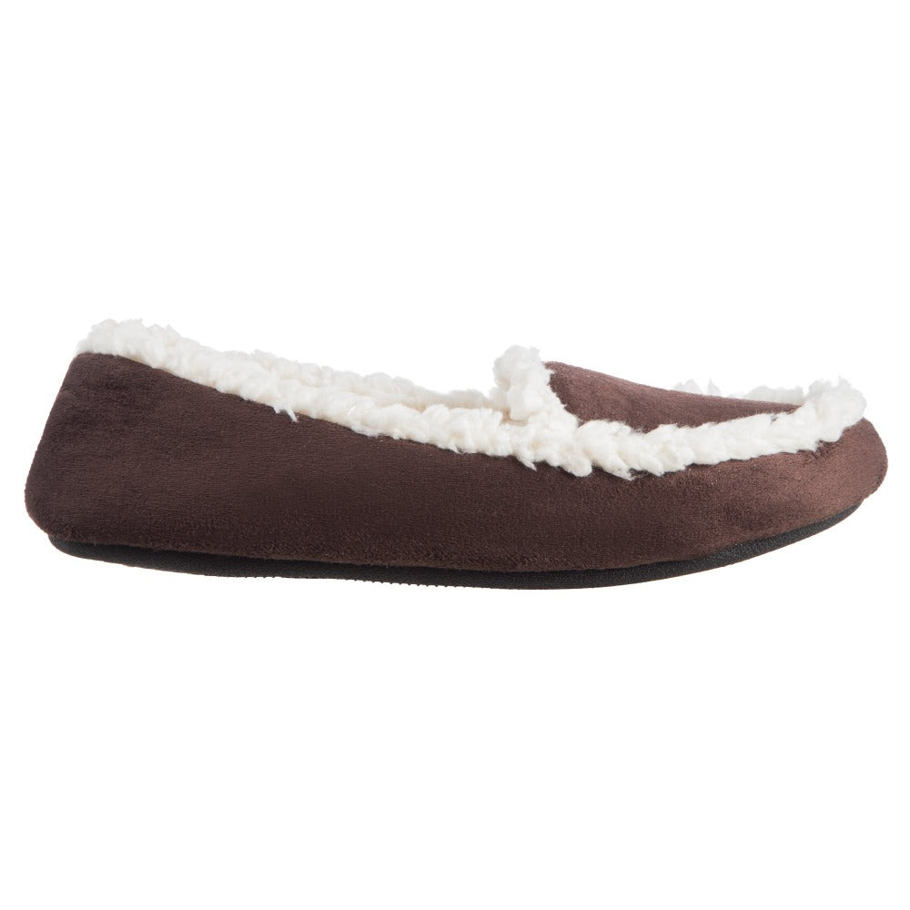 Women's Microsuede Alex Moccasin Slippers in Dark Chocolate Profile