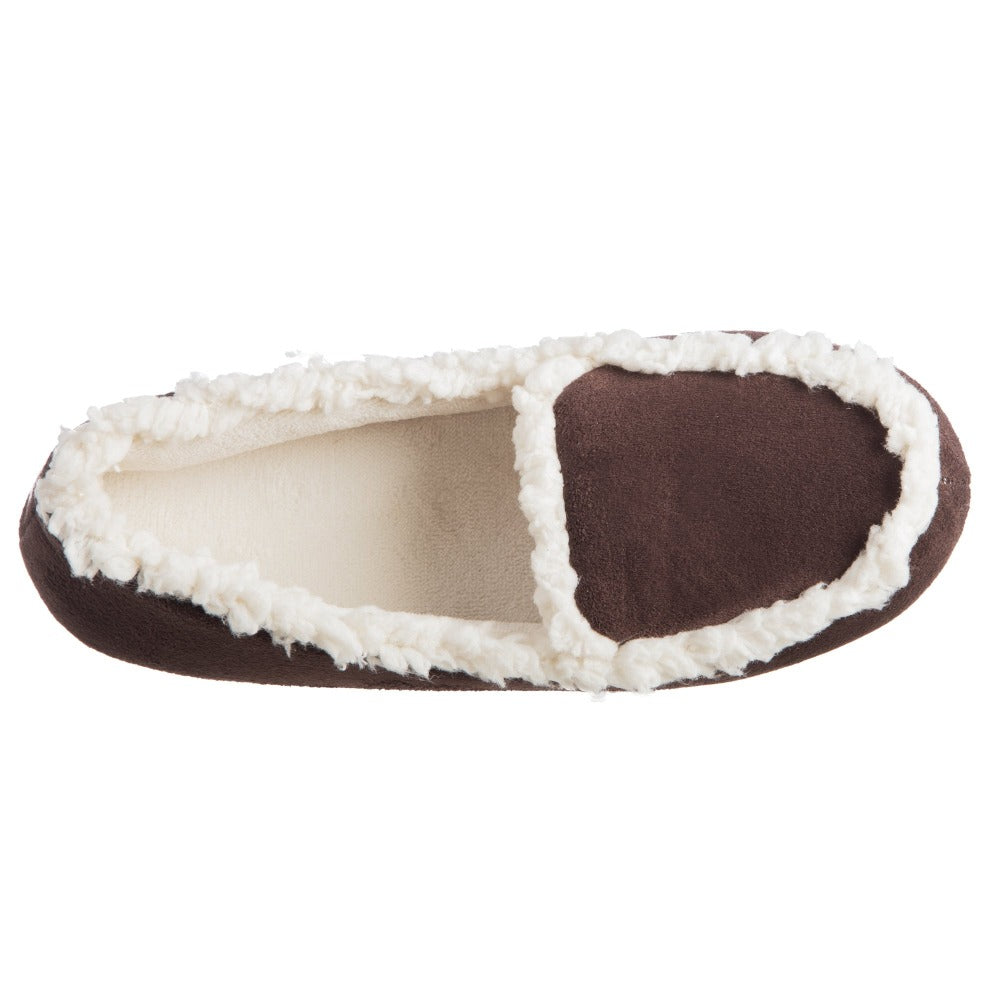 Women's Microsuede Alex Moccasin Slippers in Dark Chocolate Inside Top View