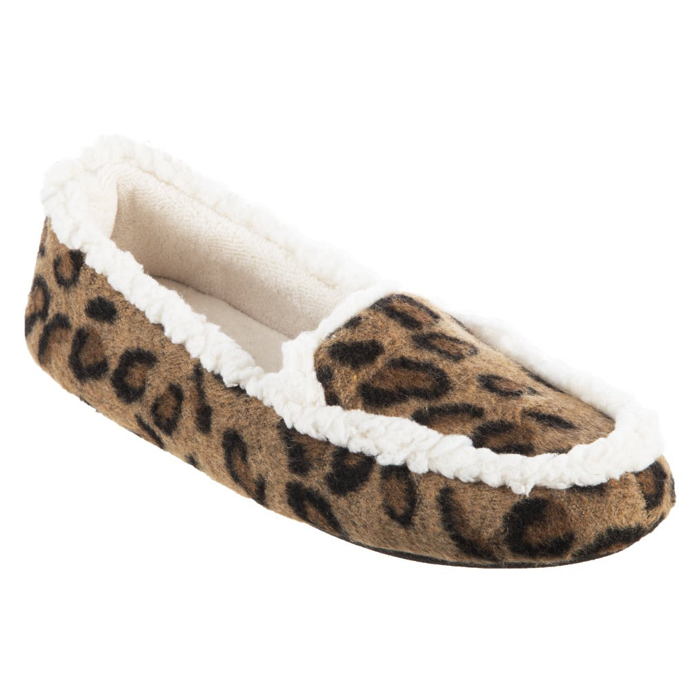 Women's Microsuede Alex Moccasin Slippers in Buckskin Cheetah Animal Print Right Angled View