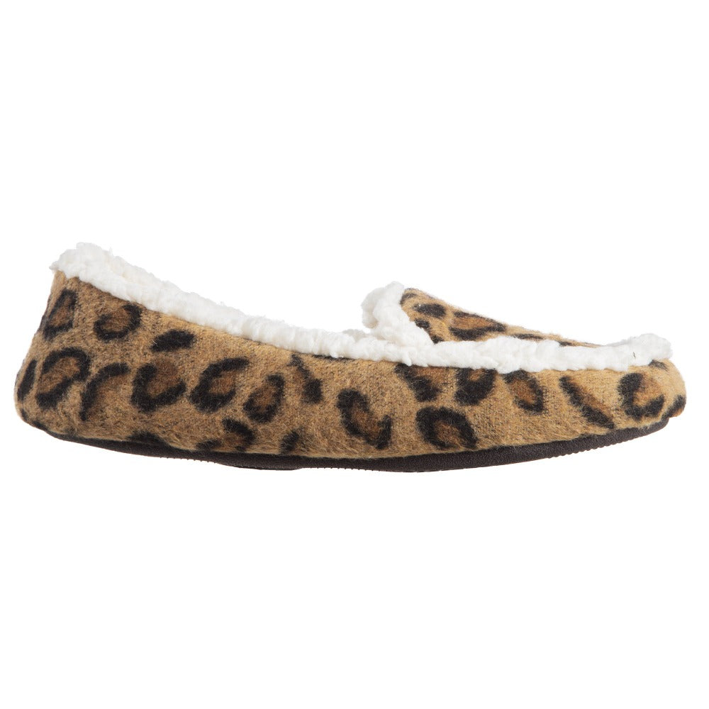 Women's Microsuede Alex Moccasin Slippers in Buckskin Cheetah Animal Print Profile