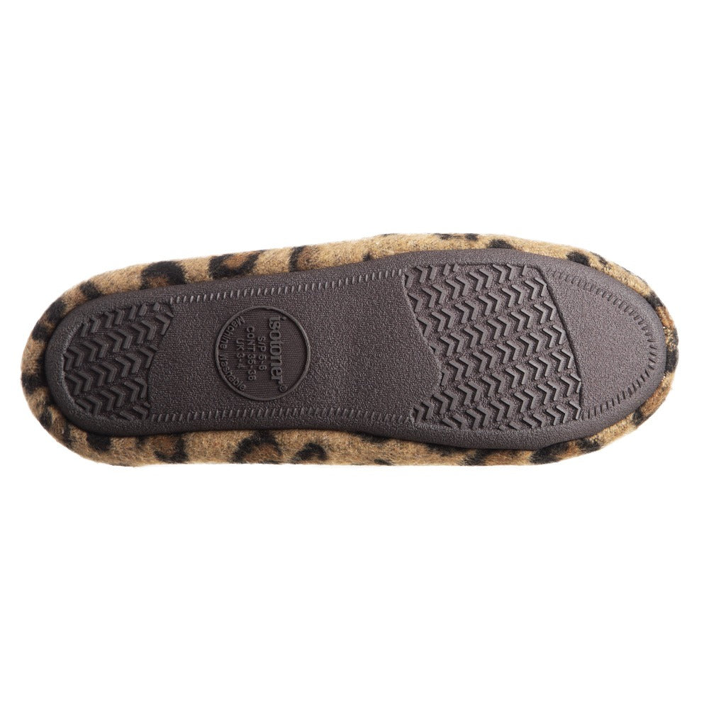 Women's Microsuede Alex Moccasin Slippers in Buckskin Cheetah Animal Print Bottom Sole Tread