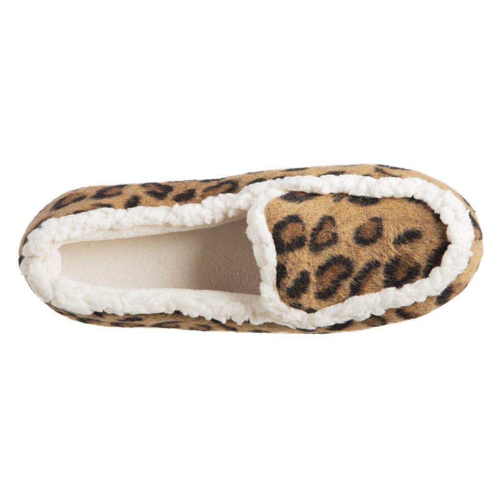 Women's Microsuede Alex Moccasin Slippers in Buckskin Cheetah Animal Print Top Inside View