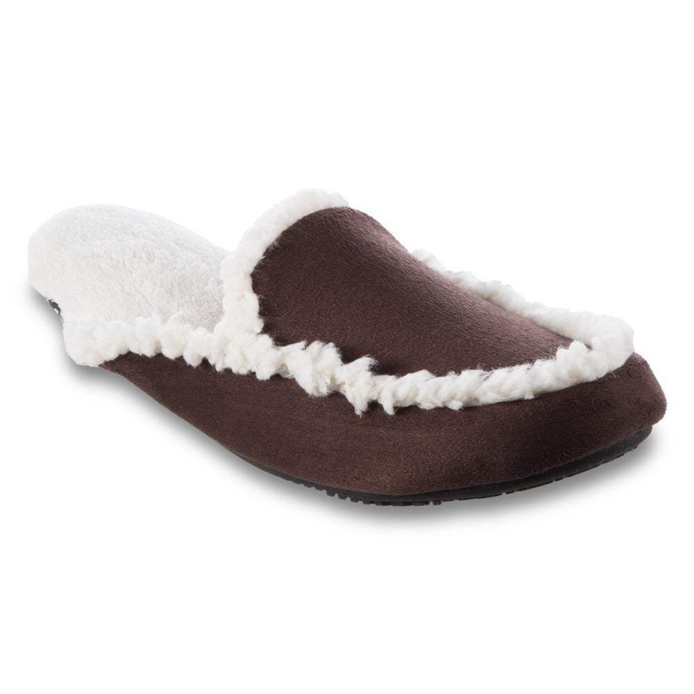 Women's Alex Microsuede Scuff Slippers in Dark Chocolate Right Angled View