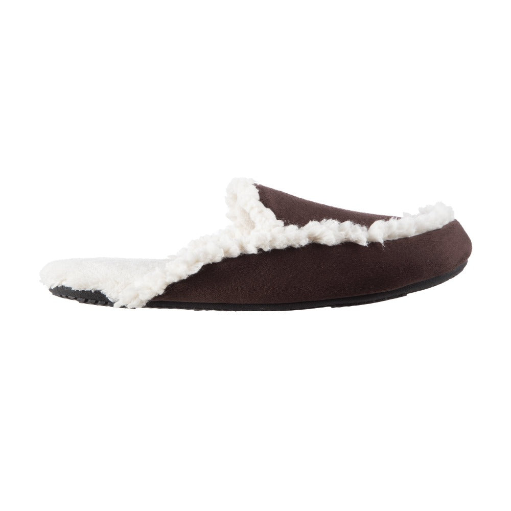 Women's Alex Microsuede Scuff Slippers in Dark Chocolate Profile