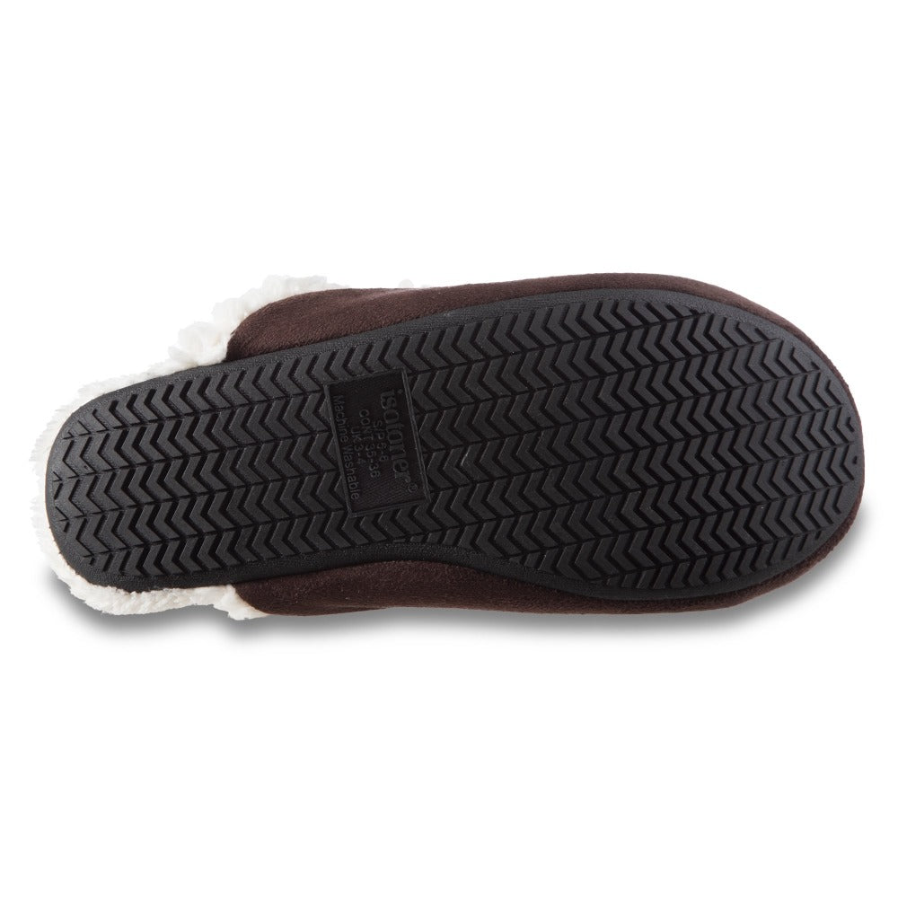 Women's Alex Microsuede Scuff Slippers in Dark Chocolate Bottom Sole Tread