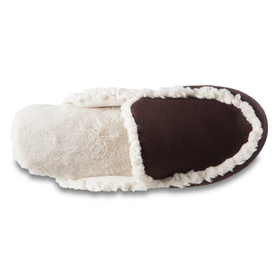 Women's Alex Microsuede Scuff Slippers in Dark Chocolate Inside Top View