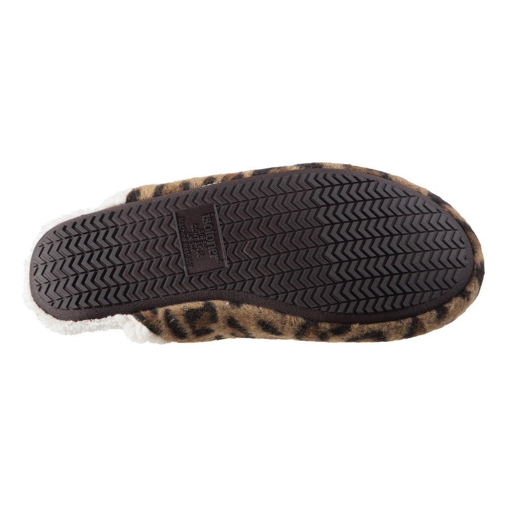 Women's Alex Microsuede Scuff Slippers in Buckskin (Cheetah Print) Bottom Sole Tread