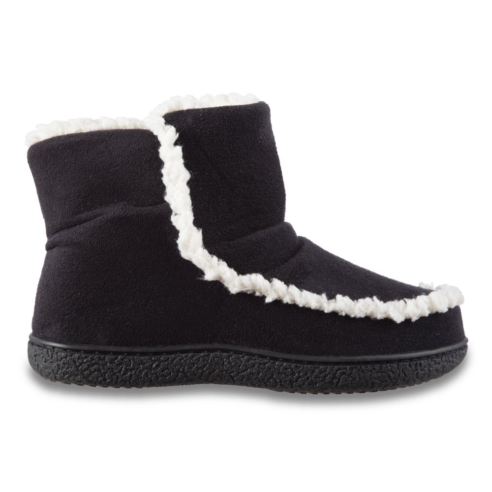 Women's Microsuede Alex Boot Slippers in Black Profile