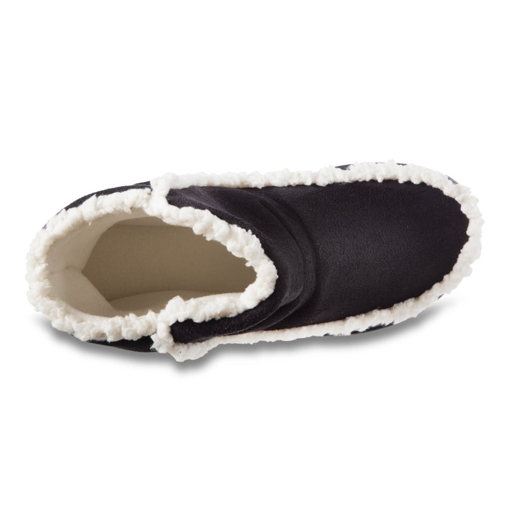 Women's Microsuede Alex Boot Slippers in Black Inside Top View