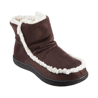 Women's Microsuede Alex Boot Slippers in Dark Chocolate Right Angled View