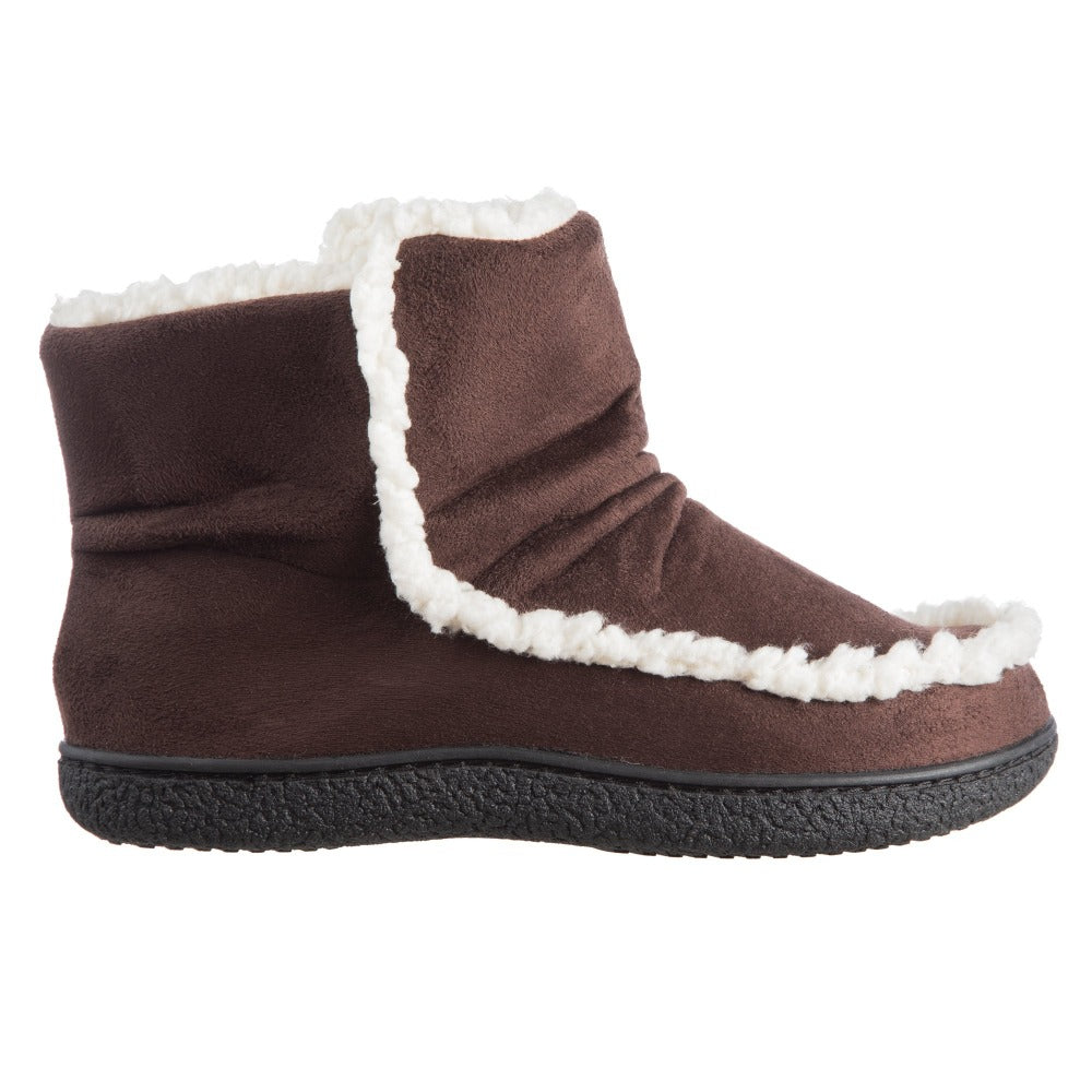 Women's Microsuede Alex Boot Slippers in Dark Chocolate Profile