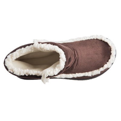 Women's Microsuede Alex Boot Slippers in Dark Chocolate Inside Top View