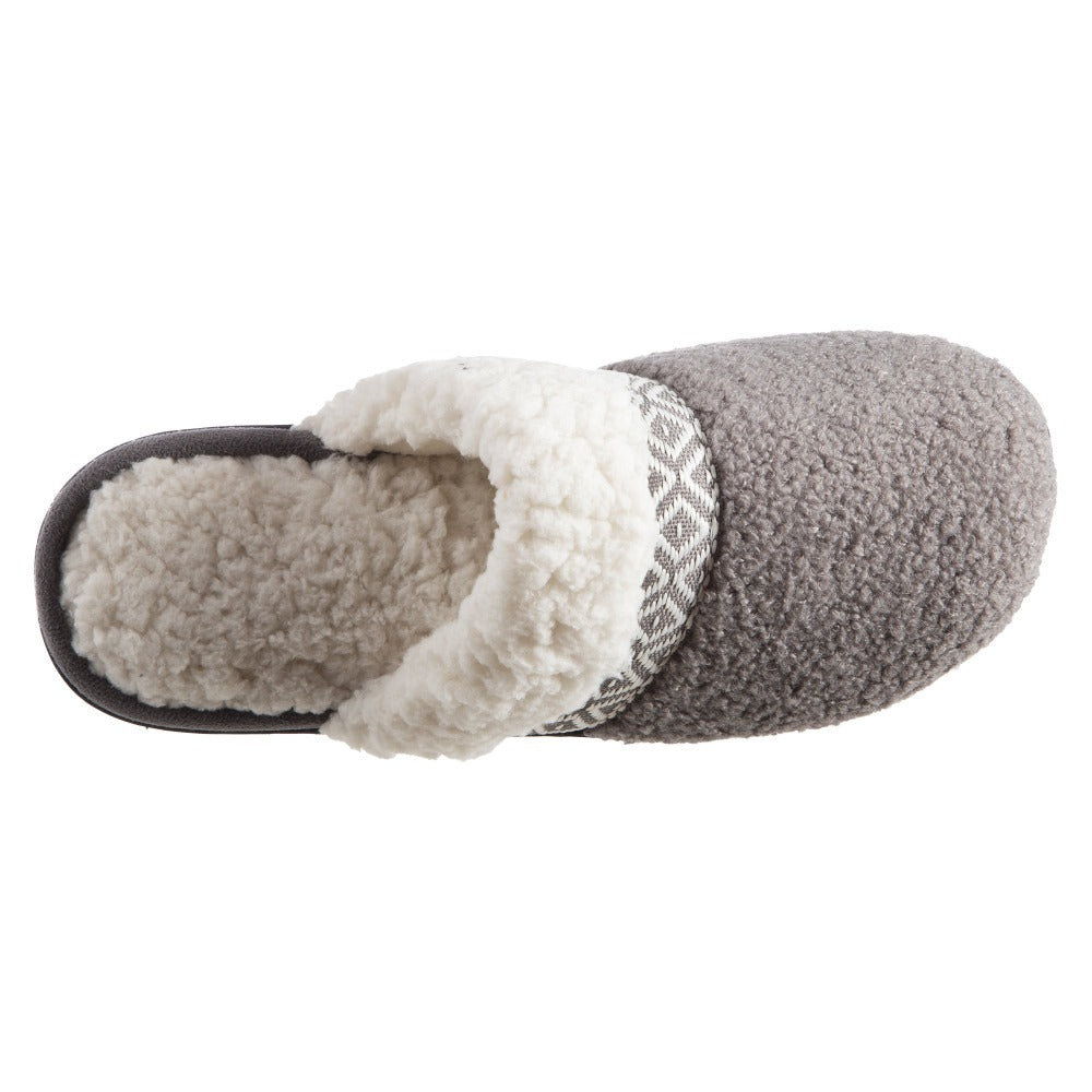 Women's Berber Nina Clog Slippers in Ash Inside Top View