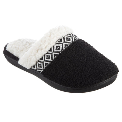 Women's Berber Nina Clog Slippers in Black Right Angled View