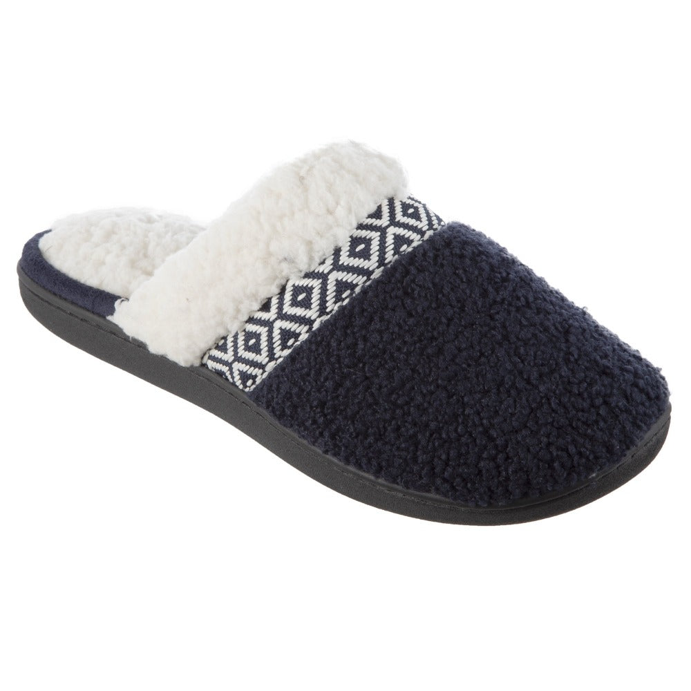 Women's Berber Nina Clog Slippers in Navy Right Angled View