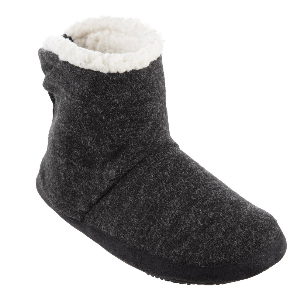 Women's Marisol Boot Slippers in Black Right Angled View
