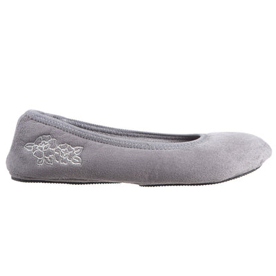 Women's Embroidered Brianna Ballerina Slippers in Ash Profile