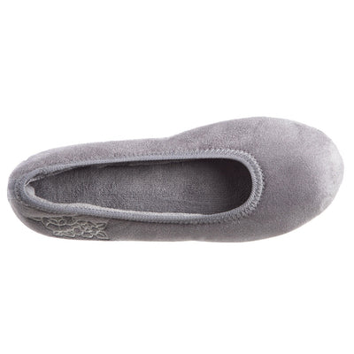 Women's Embroidered Brianna Ballerina Slippers in Ash Inside Top View
