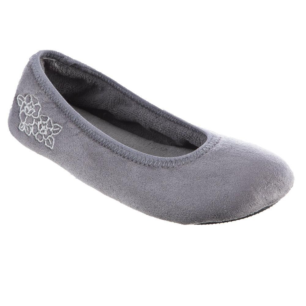 Women's Embroidered Brianna Ballerina Slippers in Ash Right Angled View