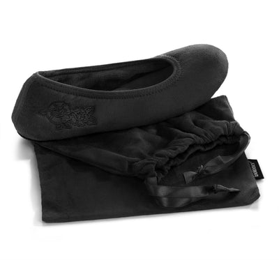 Women's Embroidered Brianna Ballerina Slippers in Black Slipper with Travel Pouch
