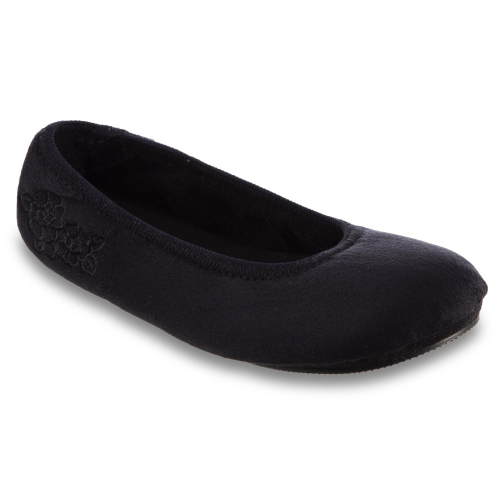 Women's Embroidered Brianna Ballerina Slippers in Black Right Angled View