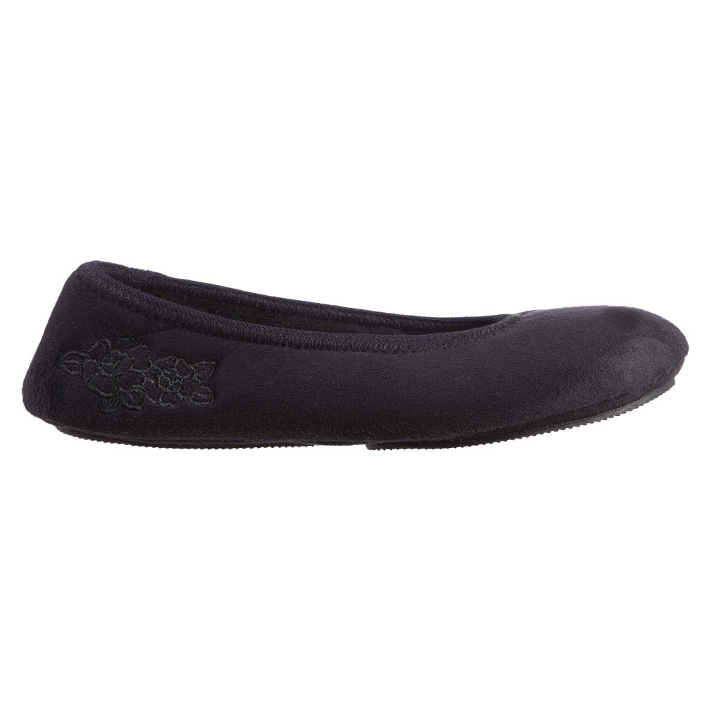 Women's Embroidered Brianna Ballerina Slippers in Black Profile