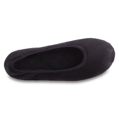 Women's Embroidered Brianna Ballerina Slippers in Black Inside Top View