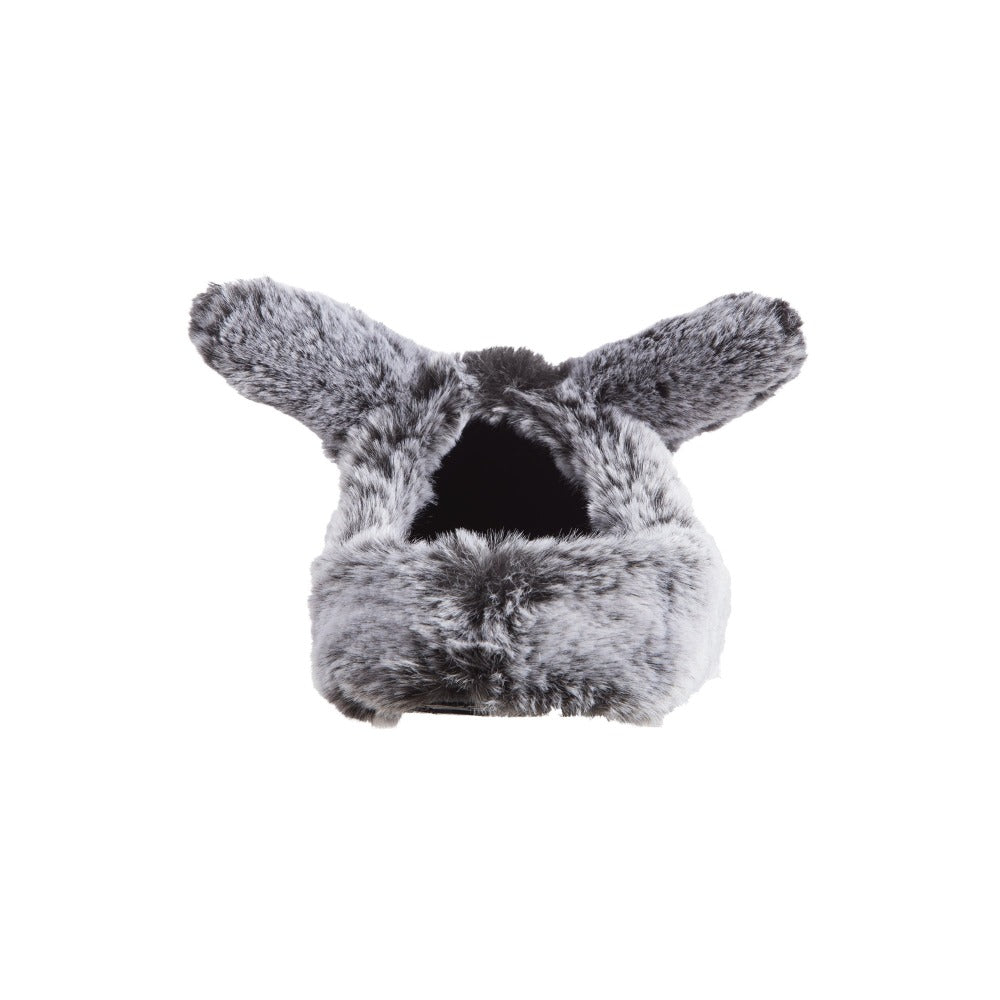 Women's Faux Fur Fey Novelty Hoodback Slippers in Black Bunny Ears Back Heel