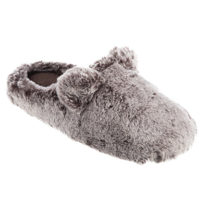 Women's Faux Fur Fey Novelty Hoodback Slippers in Dark Chocolate Bear Ears Right Angled View