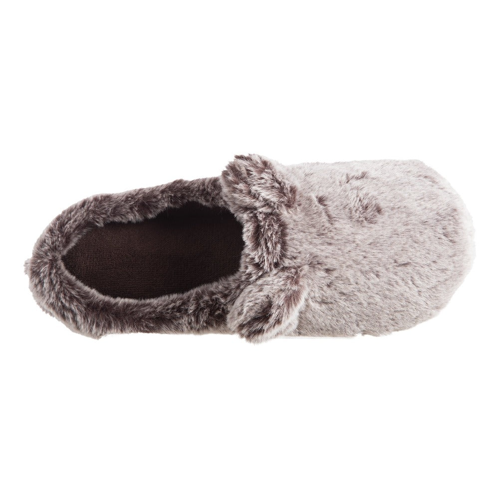 Women's Faux Fur Fey Novelty Hoodback Slippers in Dark Chocolate Bear Ears Inside Top View