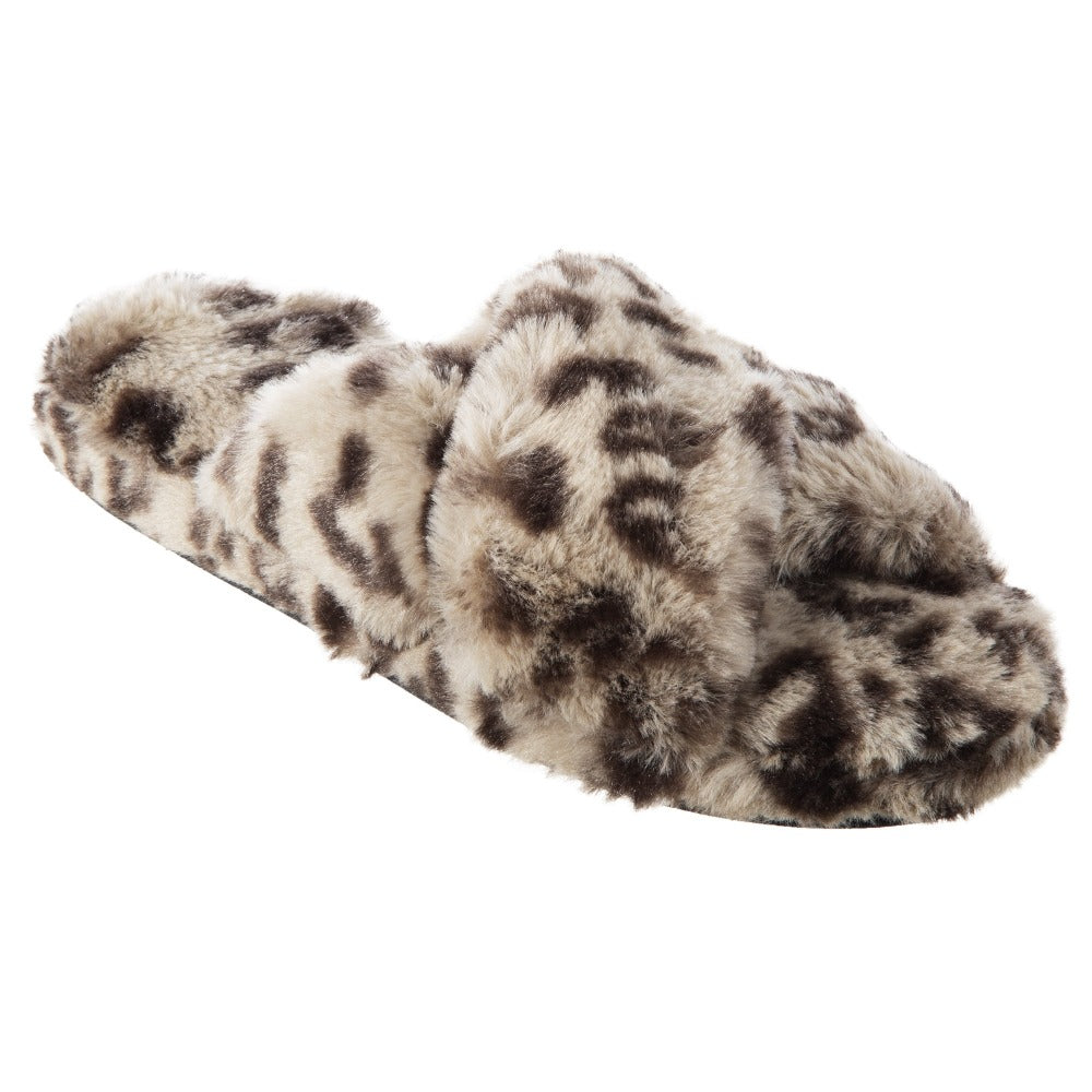 Women's Faux Fur Fey Novelty Slide Slippers in Grey Cheetah Quarter  View