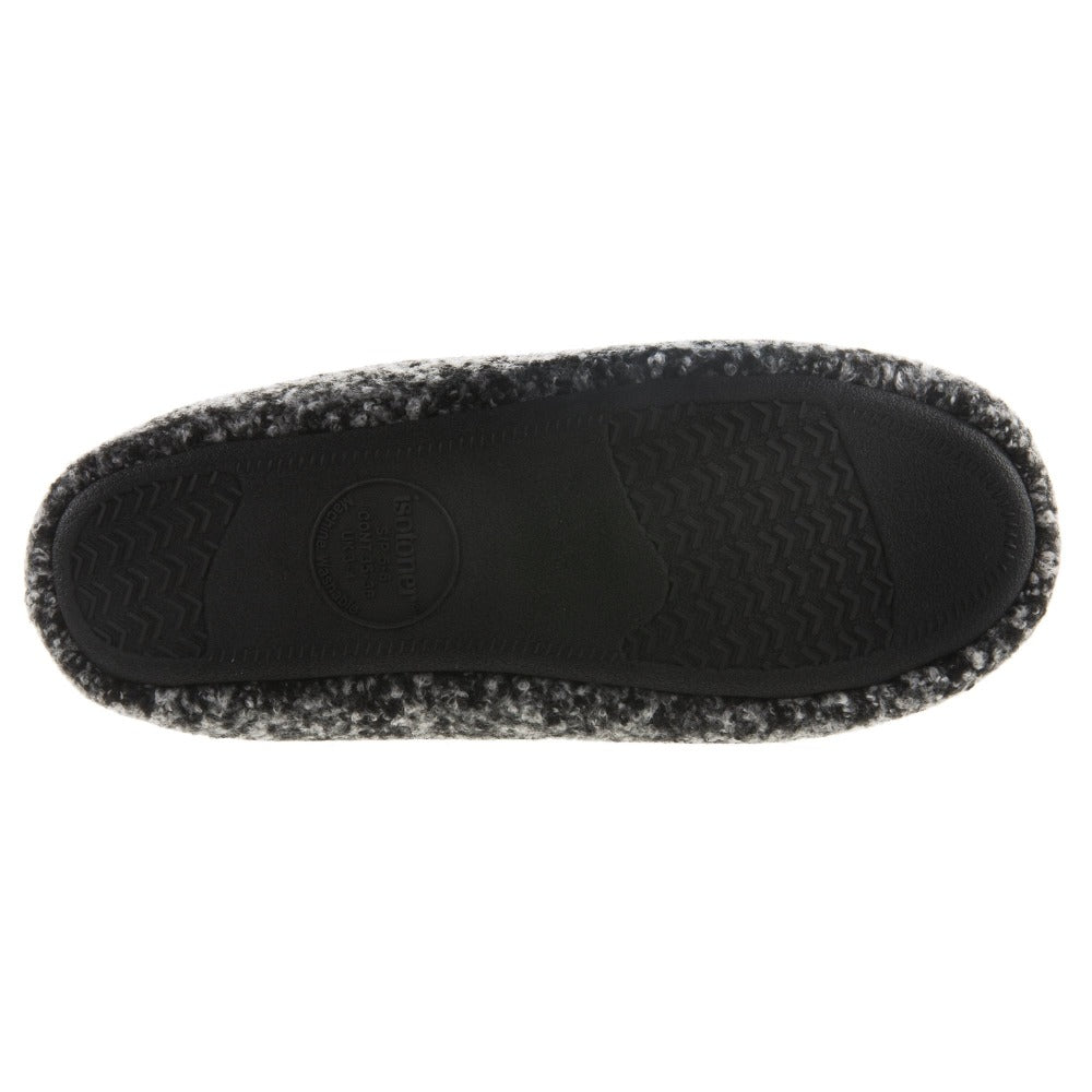 Women's Jessie Hoodback Slippers Dark Charcoal Heathered Bottom Sole Tread